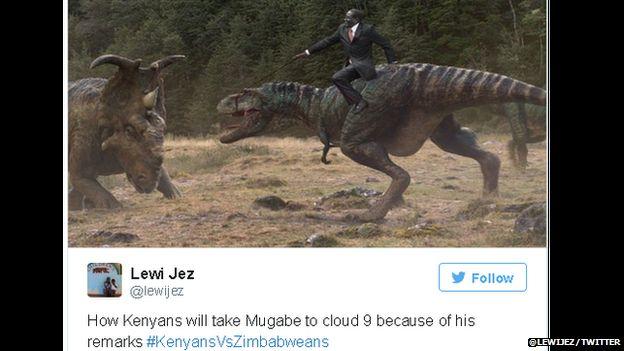 Meme of Mugabe riding a dinosaur