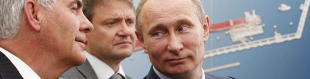 Russian President Vladimir Putin (R), Krasnodar region Governor Alexander Tkachev (C) and ExxonMobil Chairman and CEO Rex Tillerson (L) in Tuapse, Krasnodar region, Russia, 15 June 2012