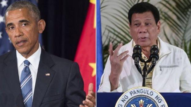 O presidente dos EUA, Barack Obama, e o filipino Rodrigo Duterte