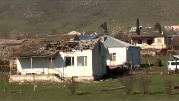 An image from footage obtained from the Nagorno-Karabakh defence authorities' official website reportedly shows houses damaged in the fighting
