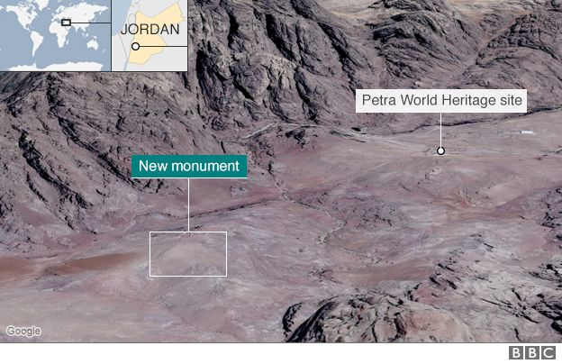 A map showing the ancient site of Petra