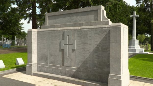 A memorial at Glasnevin Cemetery to the soldiers who died in World War One