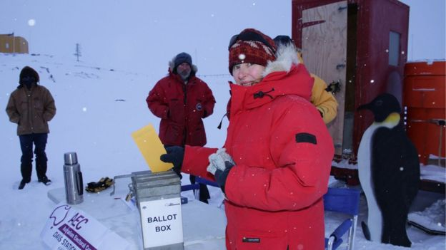 Australian expeditioner Lesley Eccles casts her vote for the 2016 election at Davis station in Antarctica