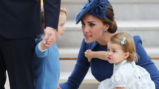 The Duchess of Cambridge with Prince George and Princess Charlotte