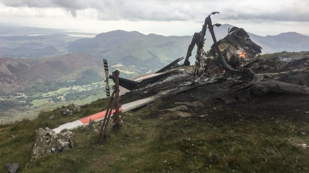 The helicopter wreckage