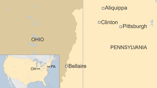 Map of Ohio and Pennsylvania