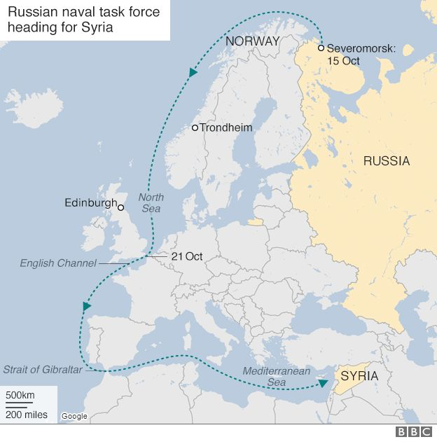 Map showing route of Russian task force
