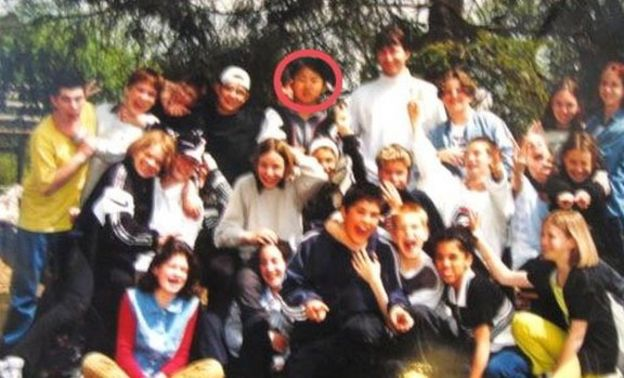 According to Yonhap News Agency this is a school photo showing Kim Jong-un's class at international school in Berne, Switzerland during Jong-un