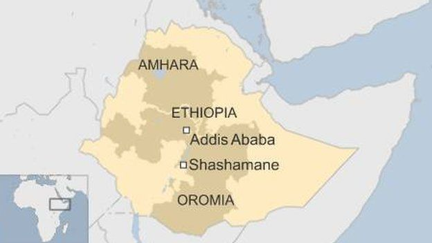 Map showing the regions of Ethiopia