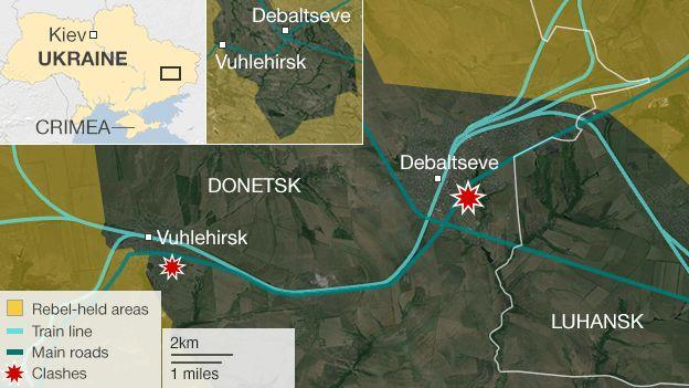 Карта, що показує боротьби навколо Дебальцеве