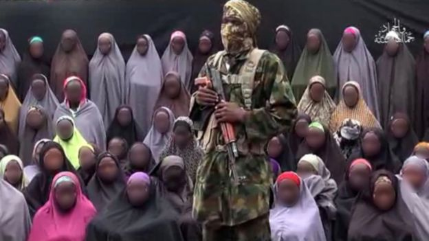 Grab from Boko Haram video with faces of girls blurred