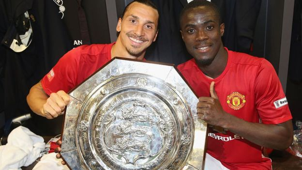 Eric Bailly and team mate Zlatan Ibrahimovic