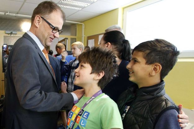 Finland's Prime Minister Juha Sipila visits a Reception Centre for asylum seekers in northern Finland