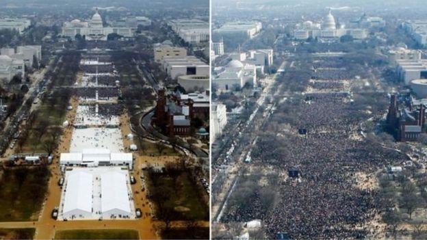 El público en la asunción de Donald Trump (izquierda) y la de Barack Obama en 2009 (derecha).