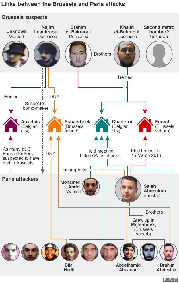 Links between Paris and Brussels attacks graphic