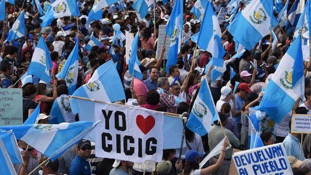 Protesta contra Otto Pérez Molina en 2015.