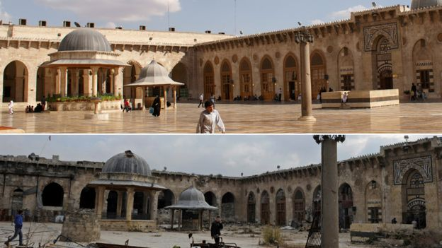 Aleppo's Great Mosque on 6 Oct 2010 (top) and 17 Dec 2016 (below)
