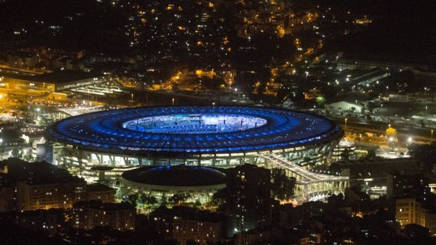 The Maracana Stadium is seen lit up ahead of the 2016 Summer Olympic Games on July 31, 2016 in Rio de Janeiro, Brazil.