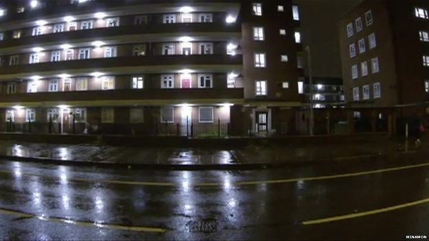 Late night block of flats in south London