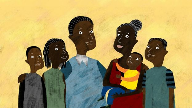 Julius with his wife and children