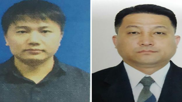 Passport photos of Kim Uk II and Hyon Kwang Song, handed out by Malaysian police on 22 February 2017