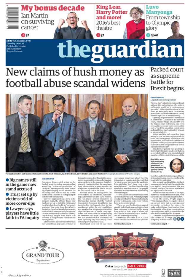 The Guardian front page - 06/12/16