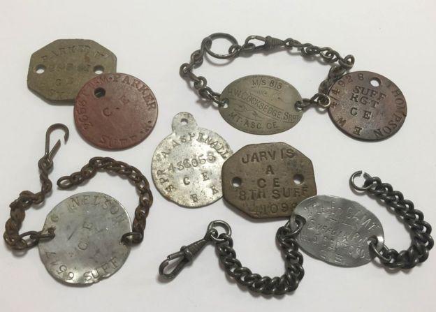 World War One identity discs and ID bracelets.