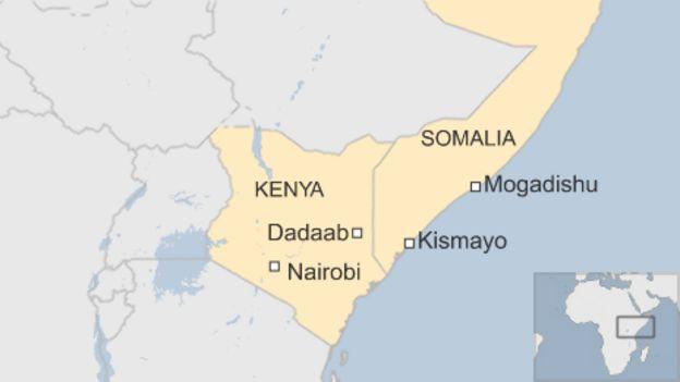 Map showing Dadaab in north-east Kenya and Kismayo in south-east Somalia