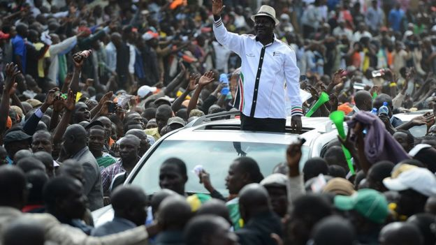odinga on the campaign trail