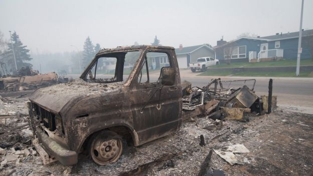A burnt-out car in Fort McMurray, Canada