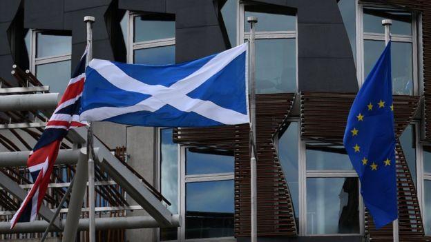 Banderas de Reino Unido, Escocia y la UE.
