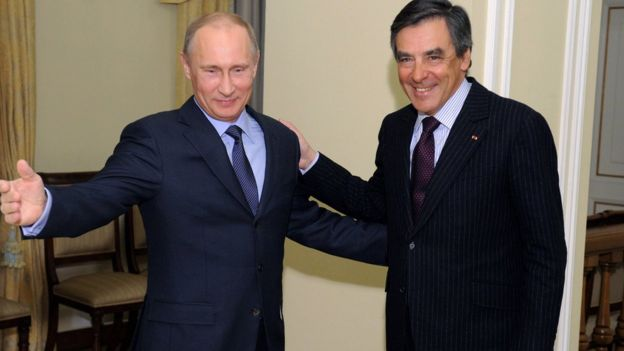Russian President Vladimir Putin and Francois Fillon