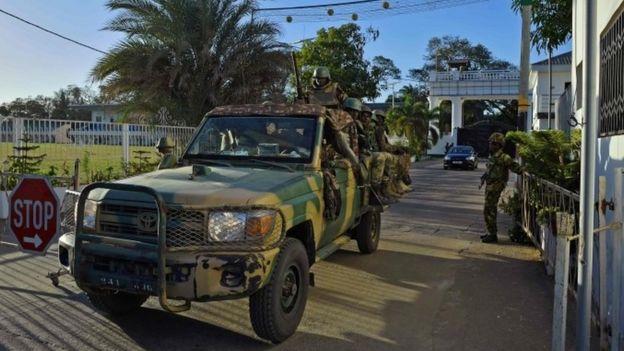 Sengalese Ecowas troops in Banjul