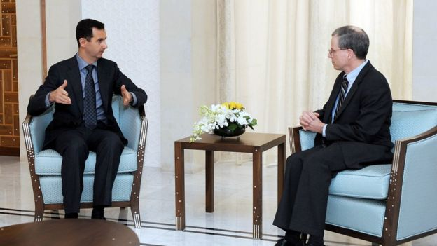 file handout picture released by the Syrian Arab News Agency and dated January 27, 2011 shows Syrian President Bashar al-Assad (L) meeting with new US ambassador Robert Ford after receiving his credentials in Damascus.