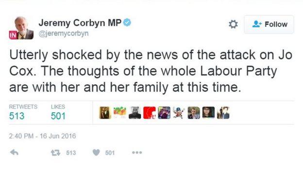 Jeremy Corbyn's tweet