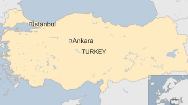 Map of Turkey showing Ankara and Istanbul