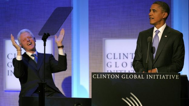 Former President Bill Clinton and US President Barack Obama at the annual Clinton Global Initiative (CGI) in New York in September 2010