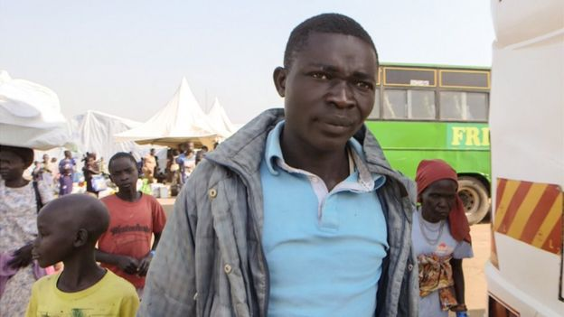 Refugee Amos Otima walked many days through the bush to escape the atrocities