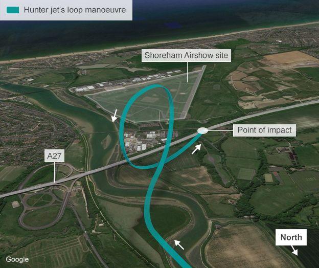 [Internacional] Avião cai e mata uma série de pessoas durante show aéreo na Inglaterra _85157975_shoreham_loop_detail_air_crash_624