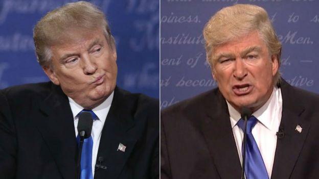 Donald Trump na mtu anayemuigiza Alec Baldwin kulia