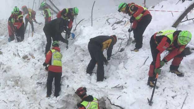 Rescuers digging at snow-covered hotel, 23 Jan 17 (CNSAS photo)
