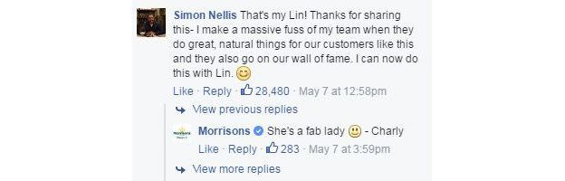 Store manager Simon Nellis responds to Amanda's post 'That's my Lin'