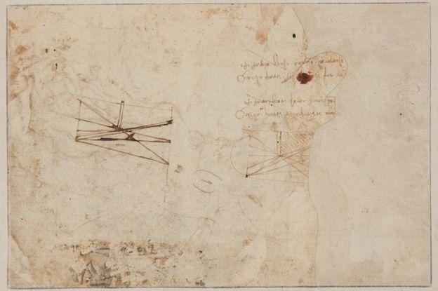 作品背面有兩處更小的科學草圖,還有從右到左寫的筆記,達芬奇以從右到左的書寫習慣著稱。