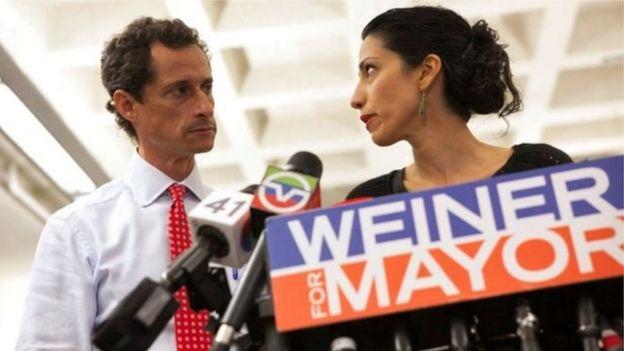Anthony Weiner y Huma Abedin.