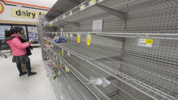 Shelves in Virginia lay empty