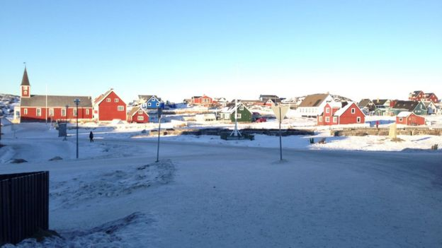 Nuuk, the capital of Greenland. 16,500 people live there out of Greenland's total population of just over 56,000.