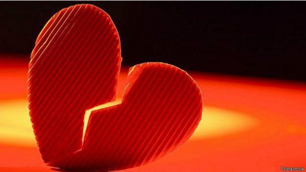 Imagen de un corazón roto.