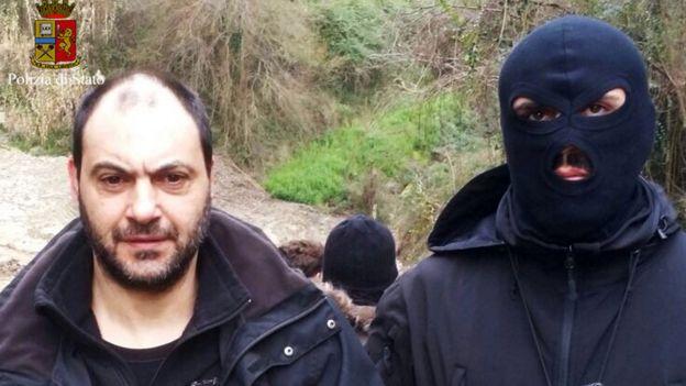One of the Mafia bosses under arrest (pic: Italian police)