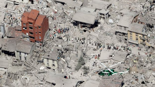 Aerial photo showing damaged buildings in the historical part of the town of Amatrice, central Italy, after an earthquake (Aug. 24, 2016)