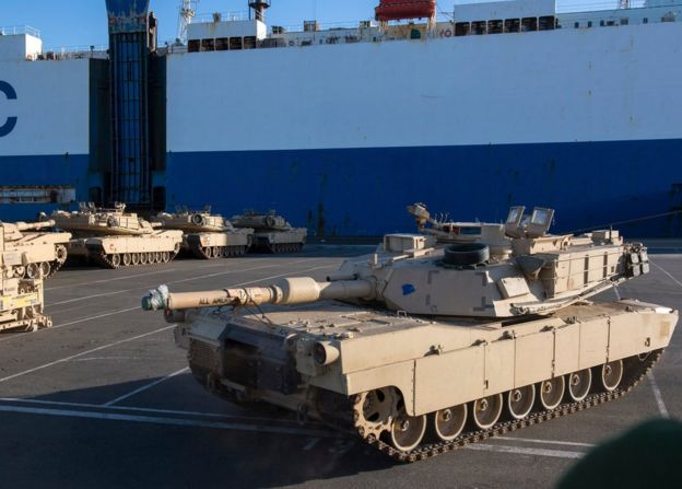 US Tanks at the docks in Bremerhaven, northern Germany (6 January 2016)